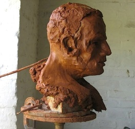 Bust in clay